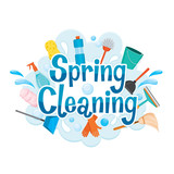 Fototapety Spring Cleaning Letter Decorating And Cleaning Equipment, Housework, Appliance, Domestic Tools, Computer Icon, Cleaning, Symbol, Icon Set, Spring Season