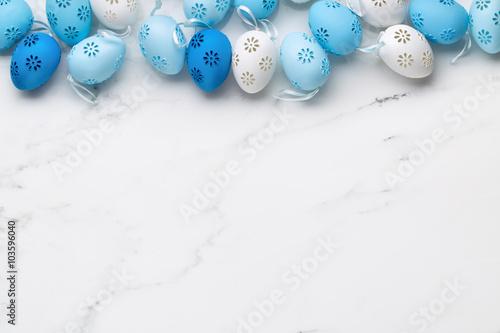 Easter eggs on white marble