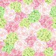 Vector seamless pattern with pink and green hydrangea flowers.