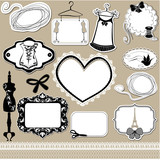Set of frames, symbols, tools and accessories for sewing studio