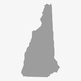 Fototapety Map of New Hampshire State in gray on a white background