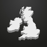 Fototapety UK map in gray on a black background 3d