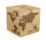 Earth map on cardboard box