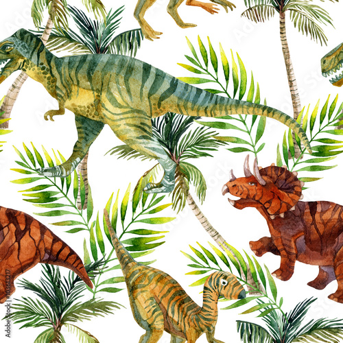 Stoffe zum Nähen Aquarell Musterdesign Dinosaurier