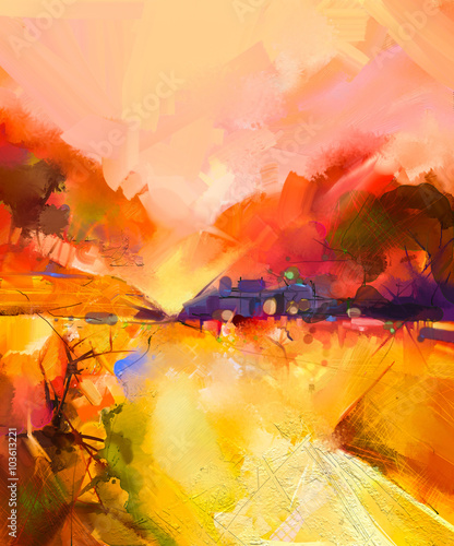 Obraz Abstract colorful yellow and red oil painting landscape on canvas. Semi- abstract image of tree, hill meadow (field) with orange sky. Spring,Summer season nature background
