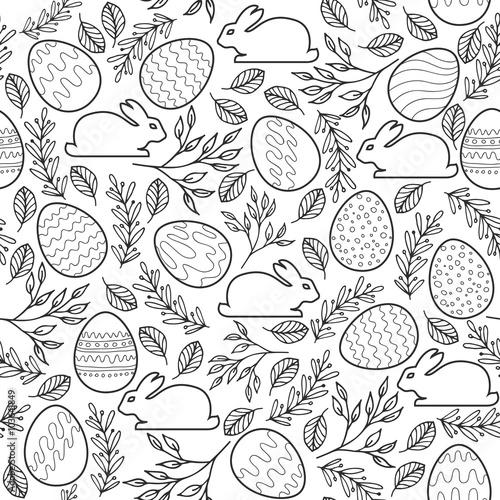 Materiał do szycia Seamless vector pattern with Easter eggs, bunnies