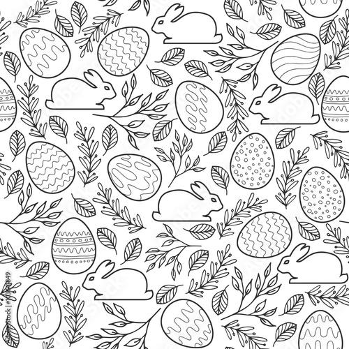 Materiał do szycia Seamless vector pattern with Easter eggs, bunnies