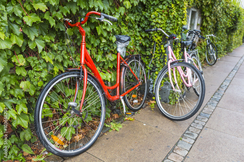 Classic vintage retro city bicycle in Copenhagen, Denmark Canvas Print
