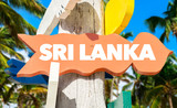 Sri Lanka welcome sign with palm trees