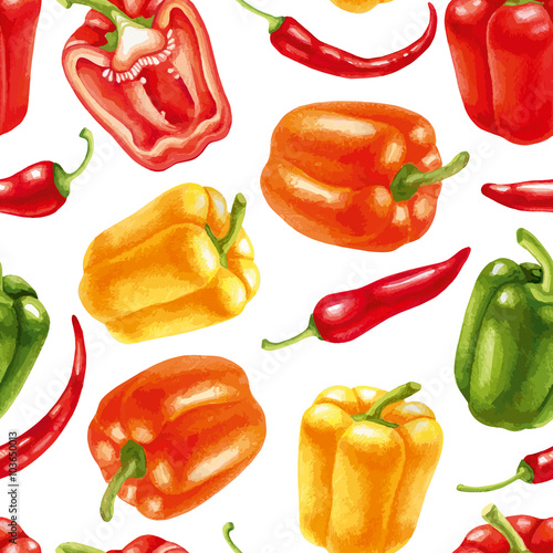 Fototapeta Seamless pattern with chili and bell peppers