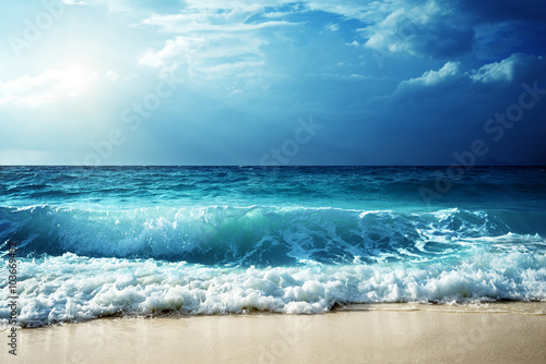 waves at Seychelles beach Poster