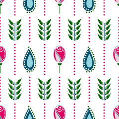 Seamless floral vector pattern. Symmetrcal colorful ornamental background with flowers. Decorative repeating ornament, Series of Floral and Decorative Seamless Pattern.