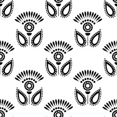 Seamless floral vector pattern. Symmetrcal black and white ornamental background with flowers. Decorative repeating ornament, Series of Floral and Decorative Seamless Pattern.