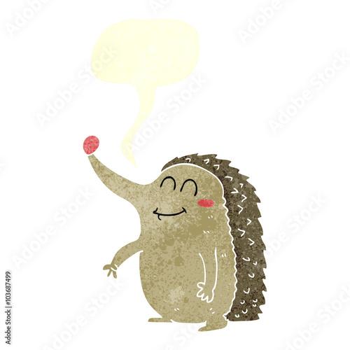 retro speech bubble cartoon hedgehog