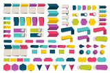 Mega set of infographics flat design elements, schemes, charts, buttons, speech bubbles, stickers. Vector illustration.