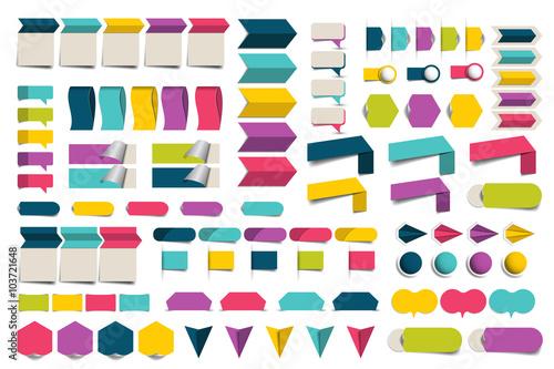 Mega set of infographics flat design elements, schemes, charts, buttons, speech bubbles, stickers. Vector illustration.