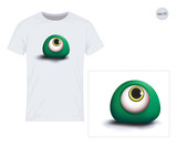 Eye, Monster, 3D. Vector design for printing on T-shirts. Eps10 file comfortable for editing.