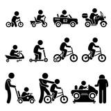 Fototapety Small Children Riding Toy Vehicles and Bicycle Stick Figure Pictogram Icons