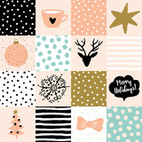 Christmas patchwork illustration. Vector seamless pattern. Snow, deer, star, tree and message Merry Holidays. Blush pink, gold, black, white and light green colors.