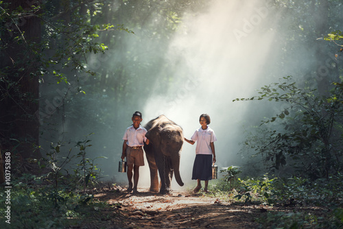 Student little asian boy and girl, countryside in Thailand.. - 103753858
