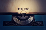 retro typewriter and text the end