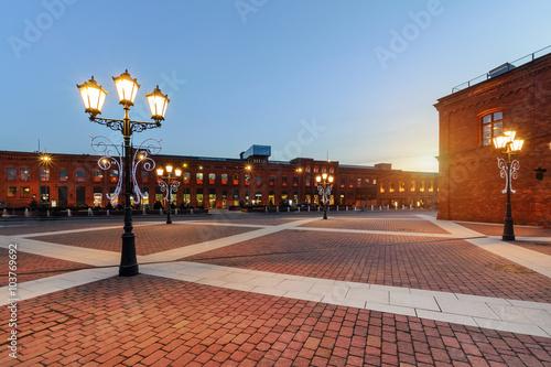 Zdjęcia na płótnie, fototapety na wymiar, obrazy na ścianę : Elegant shopping Mall in Lodz on the sunset, Poland, Europe.