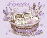 Lavender natural cosmetic basket.  Design for cosmetics, store,spa,beauty salon, natural and organic products.Vector illustration - 103778628