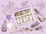 Lavender natural cosmetics set.   Design for cosmetics, store,spa,beauty salon, natural and organic products. Vector illustration - 103778694