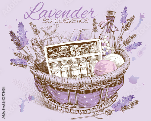 Plakat Lavender natural cosmetic basket. Design for cosmetics, store,spa,beauty salon, natural and organic products.Vector illustration