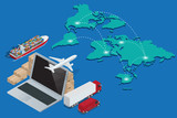 Fototapety Global logistics network Concept of air cargo trucking rail transportation maritime shipping customs clearance. Documentary support, international trade consulting for clients isometric illustration