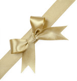 Fototapety Gold ribbons with bow isolated on white background