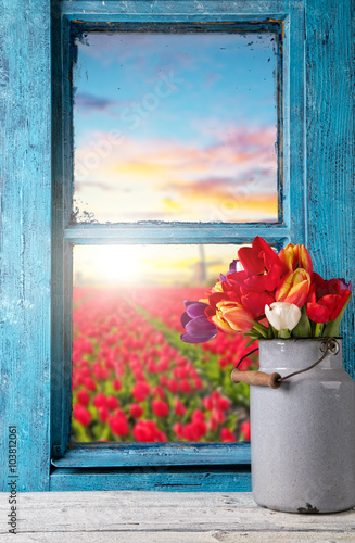 Fototapeta Easter still life decoration with rustic window