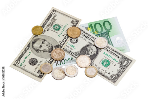 Several Banknotes And Coins Of Euro American Dollars