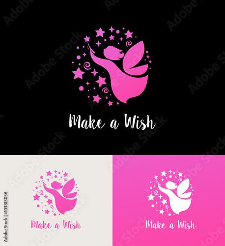 Zdjęcia na płótnie, fototapety, obrazy : Fairy with magic wand - make a wish icon and symbol