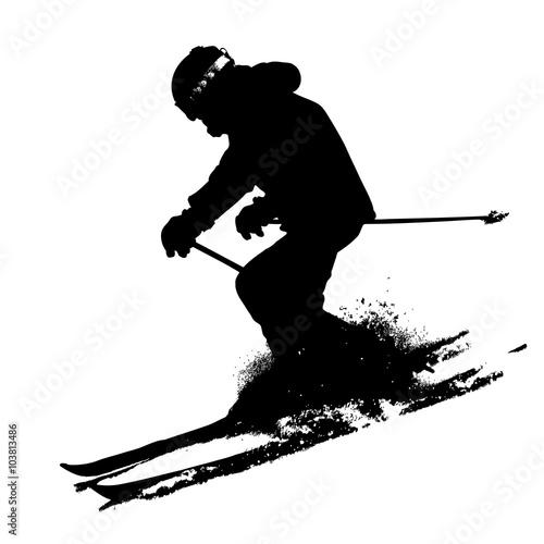 Mountain skier  speeding down slope. Vector sport silhouette Poster