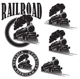 Fototapety set of vector templates with locomotive, vintage train