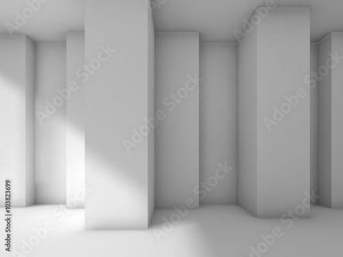 Abstract modern interior design with corners, 3d