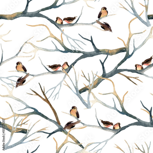 Watercolor birds on the tree branches - 103829287