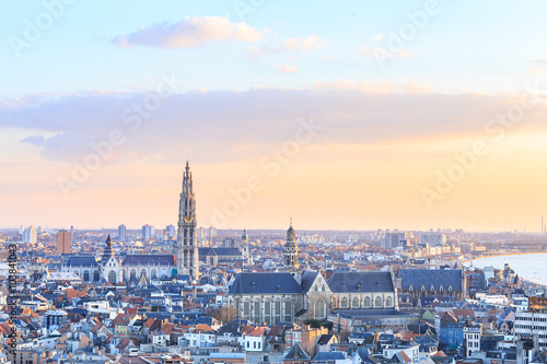 Keuken foto achterwand Antwerpen View over Antwerp with cathedral of our lady taken