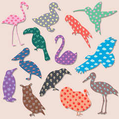 Set of colored birds with patterns