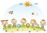 Szczęśliwe dzieci kreskówki na świeżym powietrzu na zielonej łące