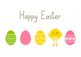 Fototapety Easter card with eggs and chicken