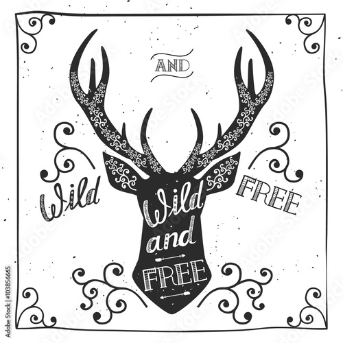Aluminium Hipster Hert Silhouette of a deer. Hand drawn typography poster, greeting card, for t-shirt design