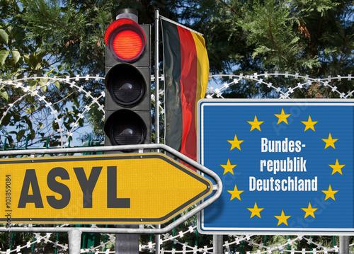 Asyl in BRD, Signal Rot Bild ist eine Fotomontage Poster