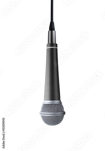 upside down microphone isolated on white background