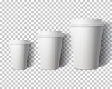 Fototapety Vector Coffee Cup Set Isolated on Transparent PS Style Backgroun