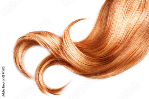 Lock of red hair closeup isolated over white background Poster