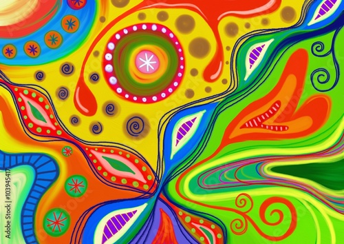 A hand painted colorful abstract pattern made up of doodle shapes плакат
