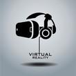 Virtual reality headset icon, flat design, vector