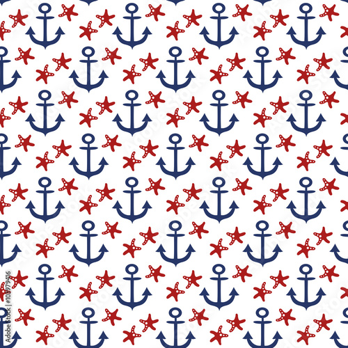 Papiers peints Hibou Seamless pattern with sea anchors on a white background